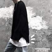 熱銷寬鬆長袖T恤黑衣內搭神器長袖t恤男打底衫ins純色秋裝純棉寬鬆簡約派百搭款