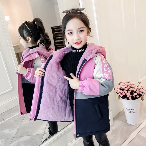 女孩拼色保暖百搭女童外套 秋冬中長款羽絨外套 衝鋒衣中大童韓版外套 加絨夾克外套兒童棉服