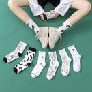 黑白卡通動漫人物字母塗鴉潮流高螺口日系韓版可愛中筒襪女