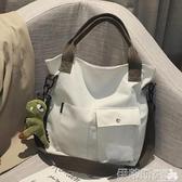 托特包帆布大包包女包新款2020韓版學生上課手提托特布袋包側背斜背包潮 春季特賣