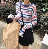 現貨 條紋撞色 透膚針織衫 CC KOREA ~ Q15571