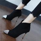 裸靴 歐美時尚水鉆尖頭細跟高跟鞋女2020秋冬新款網紅百搭細跟短靴裸靴 降價兩天