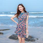 2018夏新款時尚改良旗袍修身包臀超短性感魚尾裙雪紡小個子洋裝 【PINKQ】