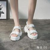 女夏學生新款百搭韓版港味松糕鞋女士厚底涼鞋 zm3263【每日三C】