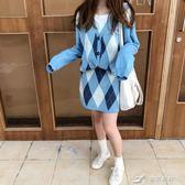 可可里小姐~秋季套裝復古菱形格子開衫毛衣 高腰針織半身短裙女 樂芙美鞋