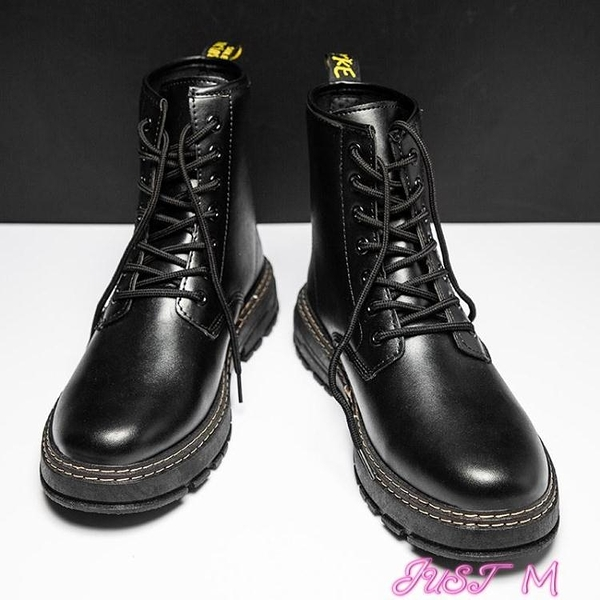 馬丁靴馬丁靴男高幫英倫風韓版潮流百搭工裝短靴潮靴子秋季男士黑色皮靴 JUST M