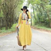 中國風棉麻提花復古繡花民族風楊麗萍長袖連衣裙長裙年冬季洋裝