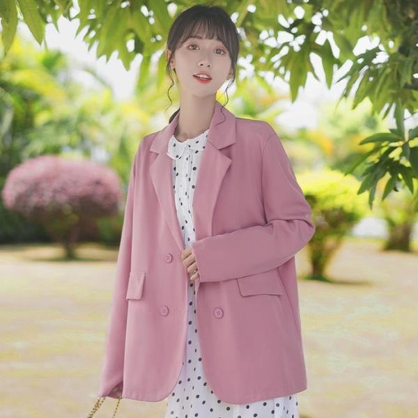 西裝外套 2021春秋新款寬鬆網紅小西服女學生中長款百搭西裝休閒外套