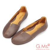 G.Ms.*MIT系列-車縫簡約造型真皮娃娃便鞋-可可灰