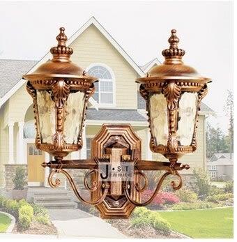 設計師美術精品館戶外防水壁燈 雙頭小區花園門口圍牆歐式 過道陽台庭院燈室外門柱