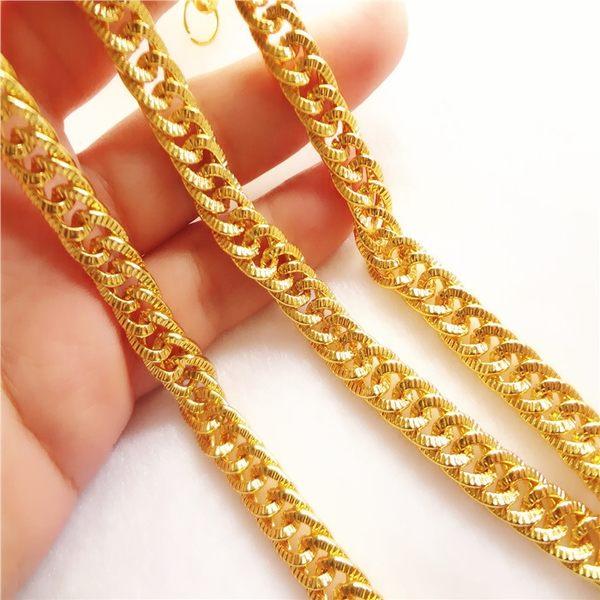 時尚情侶鍍金馬鞭項鏈仿真越南沙金鏈子24k黃金項鏈婚慶首飾