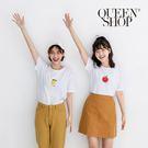 Queen Shop【01037623】日文字母水果印花圓領棉T 兩色售*現+預*