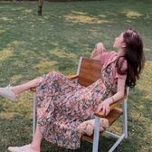 漂亮小媽咪 碎花洋裝 【DS9357】 兩件式 吊帶裙 長裙 雪紡 長洋裝 孕婦裝 洋裝 連身裙