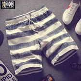 夏季新款沙灘褲男士運動休閒短褲夏天寬鬆大碼五分褲子速幹情侶褲 卡布奇诺