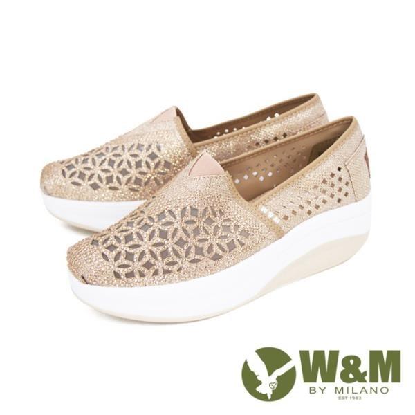 【南紡購物中心】W&M (女)Bounce 亮鑽縷紗彈力厚底增高鞋 女鞋 - 金(另有黑)