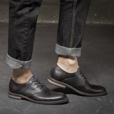短靴真皮-繫帶英倫復古做舊雕花男靴子2色73kk86【巴黎精品】