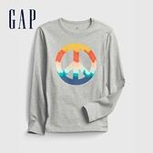 Gap男童 全棉創意印花圓領長袖T恤 664152-灰色