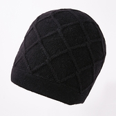 羊毛毛帽-格紋純色加厚捲邊男針織帽3色73wj34[時尚巴黎]