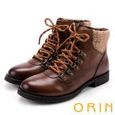 ORIN 粗曠中性帥氣 雙色蠟染牛皮綁帶馬汀靴-棕色