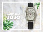 【時間道】NATURALLY JOJO  典雅時尚酒桶型仕女腕錶 / 銀白面黑壓紋皮帶(JO96903-88F)免運費