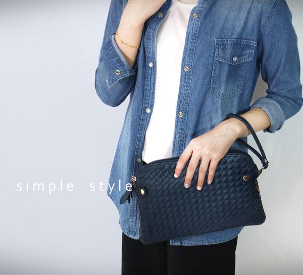 【O'FiFi】經典手工編織多格層手拿包  斜背包 側背包 (藍)