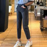牛仔褲女顯瘦高腰學生闊腿九分直筒褲子 樂芙美鞋