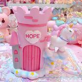 夢幻城堡獨角獸桌面擺件 筆筒卡通可愛粉嫩獨角獸筆筒擺件        瑪奇哈朵