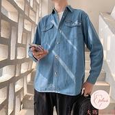 牛仔襯衫男夏季休閑復古打底長袖襯衣韓版百搭外套【大碼百分百】