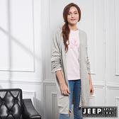【JEEP】女裝 造型圖騰刺繡長版針織外套 (灰)