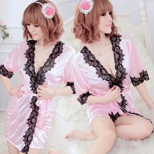 性感睡衣 長袖透明蕾絲和服式睡衣 粉  530713