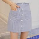 當當衣閣-條紋半身裙女夏季 新款韓版修身 包臀短裙高腰學生a字百搭