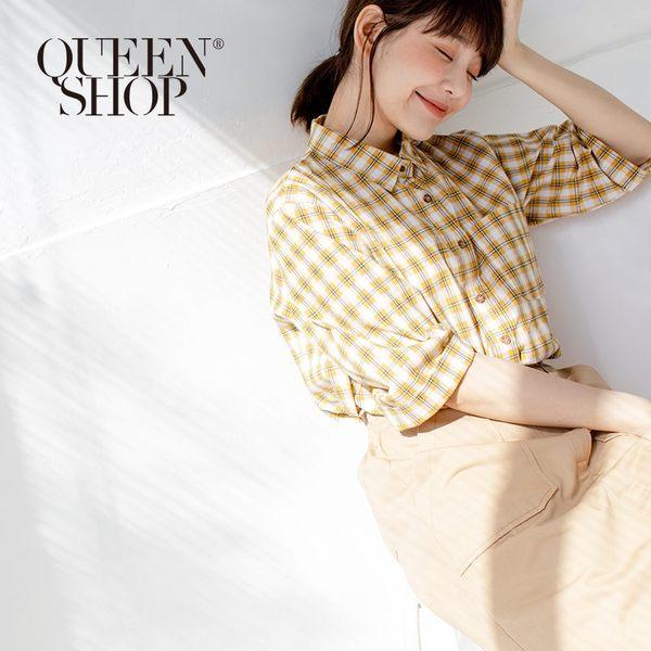 Queen Shop【01023296】配色格紋單口袋寬袖襯衫 兩色售*現+預*
