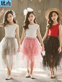 女童紗裙半身裙夏季長裙中大童超洋氣蛋糕裙子兒童蓬蓬 洛小仙女鞋