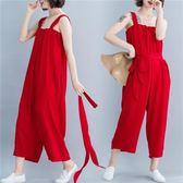 新款吊帶連體褲女 大尺碼民族風洋裝 寬鬆高腰顯瘦九分闊腿褲子連身衣褲 超值價