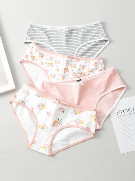 歌瑞爾甜美可愛性感舒適棉質少女中腰內褲組合【4條裝】BWM19014