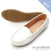 豆豆鞋 D+AF 舒適首選.MIT素面莫卡辛豆豆鞋*白
