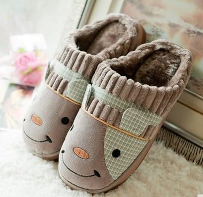 冬天 可愛 卡通 包跟防滑厚底 居家拖鞋