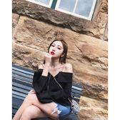 黑色韓版一字肩上衣女潮網紅露肩襯衫長袖2018新款復古港味