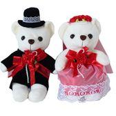 婚慶公仔 壓床娃娃毛絨情侶小熊 婚車裝飾結婚禮物婚紗玩具熊一對 春生雜貨