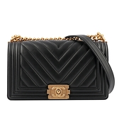 【CHANEL】Chevron 金釦小牛皮Boy Chanel(黑色) CH1A000076 A67086