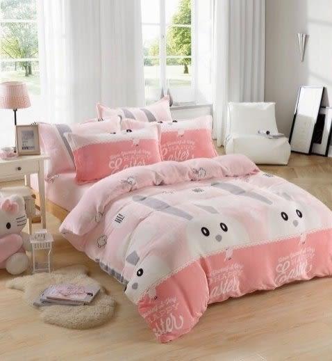 【貝淇小舖】超柔法蘭絨 / 粉紅兔女郎 (單人鋪棉床包+枕套) 超暖熱賣款