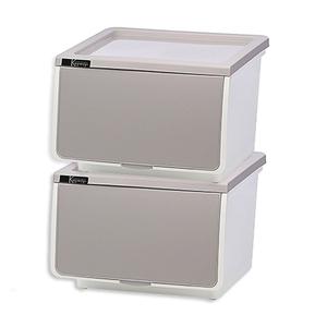 【收納屋】OPEN直取式收納箱(39L/個)(二入/組)淺灰*2