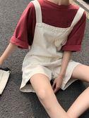 夏季新款可愛百搭闊腿背帶褲網紅寬鬆白色高腰牛仔短褲女學生 ciyo黛雅
