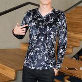 韓版 印花長袖t恤男v領潮流體恤衫韓版流行秋裝絲絨長袖T恤男裝花色t恤 韓先生