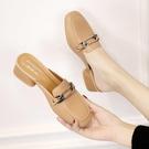 包頭半拖鞋女夏新款韓版方頭粗跟穆勒鞋舒適百搭小碼低跟懶人涼拖 快速出貨