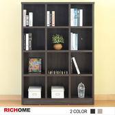 【RICHOME】傑克12格書櫃-2色灰橡木紋色