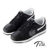 【韓國T2R】皇家徽章內增高休閒鞋↑7cm 黑色(5600-0179)