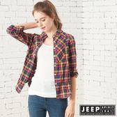 【JEEP】女裝 英倫格紋修身長袖襯衫 (黃藍格紋)