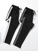 運動褲 運動褲女褲夏季薄款寬鬆直筒九分黑色休閒褲子女2020新款顯瘦百搭 韓國時尚週