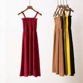春季內搭洋裝新款氣質百搭木耳邊壓褶顯瘦抹胸吊帶中長款雪紡裙      芊惠衣屋